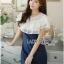 Lady Ribbon Korea Dress Denim LR01300616 &#x1F380 Lady Ribbon's Made &#x1F380 Lady Elena Laser-Cut Ruffle Cotton and Denim Mini Dress thumbnail 3