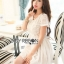 Lady Ribbon เสื้อผ้าเกาหลี LR14140716 &#x1F380 Lady Ribbon's Made &#x1F380 Lady Cassnadra Pure Elegant Lace and Chiffon White Mini Dress มินิเดรสผ้าซิลล์ thumbnail 3
