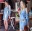 Lady Ribbon Korea Dress &#x1F380 Lady Ribbon's Made &#x1F380 Ashley Summery Off-Shoulder Denim Cotton and Lace Dress เดรสเปิดไหล่ thumbnail 1