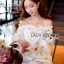 Lady Ribbon Korea Mini Dress LR04270616 &#x1F380 Lady Ribbon's Made &#x1F380Lady Ashley Emy Summery Off-Shoulder Gold Feather Embroidered Organza Dress เ thumbnail 1
