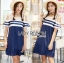 Lady Ribbon Dress LR14120516 &#x1F380 Lady Ribbon's Made &#x1F380 Lady Isla Glam Chic Navy Blue Striped Dress thumbnail 1