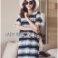 Lady Ribbon Korea Dress LR04200616 &#x1F380 Lady Ribbon's Made &#x1F380 Lady Catherine Colourful Striped Lace Dress with Ruffled Sleeves เดรสผ้าลูกไม้ thumbnail 1