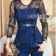Lady Ribbon Korea Dress LR03060616 &#x1F380 Lady Ribbon's Made &#x1F380 Lady Kimberley Smart and Sexy Black Lace with Denim Set เ thumbnail 1