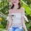Lady Ribbon Closet เสื้อผ้าเกาหลี LR06140716 &#x1F380 Lady Ribbon's Made &#x1F380 Self-Portrait Off-Shoulder White Lace Corset เสื้อเปิดไหล่ thumbnail 3
