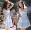 Lady Ribbon Korea เสื้อผ้าเกาหลี ของแท้พร้อมส่ง Lady Ribbon Dress LR10250716 &#x1F380 Lady Ribbon's Made &#x1F380 Lady Ariana Sweet Feminine White and Blue Lace Dress เดรสผ้าลูกไม้สีฟ้า thumbnail 4