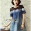 Lady Ribbon Korea Dress &#x1F380 Lady Ribbon's Made &#x1F380 Lady Davina Minimal Chic Striped Ombre Denim Dress เดรสแขนสั้น thumbnail 3