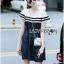 Lady Ribbon KOrea Denim Dress LR03130616 &#x1F380 Lady Ribbon's Made &#x1F380 Lady Aurelie Sporty Minimal Striped Denim Dress เดรสผ้าเดนิม thumbnail 4