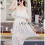 Lady Ribbon Korea Dress &#x1F380 Lady Ribbon's Made &#x1F380 Lady Lauretta Pure Summer Off-Shoulder White Lace Dress thumbnail 2
