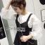 &#x1F380 Lady Ribbon's Made &#x1F380 Lady Rachel Casual Minimal Chic Black and White Blouse set thumbnail 6