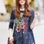 Lady Ribbon Korea LR07230516 &#x1F380 Lady Ribbon's Made &#x1F380 Lady Dakota Preppy Sweet Flower Sequin Embroidered navy Lace Dress thumbnail 2