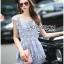 Lady Ribbon Korea Dress ผ้าลูกไม้ LR10200616 &#x1F380 Lady Ribbon's Made &#x1F380 Lady Sophie Sweet Casual Baby Blue Lace Top and Shirts Set thumbnail 2