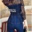 Lady Ribbon Korea Dress LR03060616 &#x1F380 Lady Ribbon's Made &#x1F380 Lady Kimberley Smart and Sexy Black Lace with Denim Set เ thumbnail 2