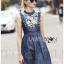 Lady Ribbon's Made &#x1F380 Lady Katie Embroidered Frilled Sleeveless Denim Korea Mini Dres thumbnail 6