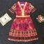 Lady Ribbon Korea Cutting LV10200616 &#x1F36DKorea Clo By Lavida golden shiny embroidery romany printed luxury dress thumbnail 4
