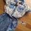 Lady Ribbon Korea Dress Denim LR04230616 &#x1F380 Lady Ribbon's Made &#x1F380 Lady Sabina Smart Vintage Lace and Denim Shirt Dress thumbnail 4
