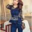 Lady Ribbon Korea Dress LR03060616 &#x1F380 Lady Ribbon's Made &#x1F380 Lady Kimberley Smart and Sexy Black Lace with Denim Set เ thumbnail 3