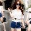 Lady Ribbon Closet Design Seoul Secret Say's... Daisy Ivory Denim Shorts set thumbnail 1