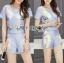 Lady Ribbon เสื้อผ้าเกาหลี LR15110716 &#x1F380 Lady Ribbon's Made &#x1F380 Lady Cara Surreal Bejewelled Printed Satin Set เซ็ตเสื้อและกางเกง thumbnail 3