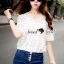Lady Ribbon Closet Design Seoul Secret Say's... Daisy Ivory Denim Shorts set thumbnail 2