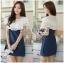 Lady Ribbon Korea Dress Denim LR01300616 &#x1F380 Lady Ribbon's Made &#x1F380 Lady Elena Laser-Cut Ruffle Cotton and Denim Mini Dress thumbnail 1