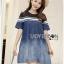Lady Ribbon Korea Dress &#x1F380 Lady Ribbon's Made &#x1F380 Lady Davina Minimal Chic Striped Ombre Denim Dress เดรสแขนสั้น thumbnail 2
