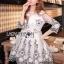 Lady Ribbon Korea Dress LR01200616 &#x1F380 Lady Ribbon's Made &#x1F380 Lady Gabby Elegant Monochrome Floral Embroidered Satin and Tulle Dress thumbnail 2