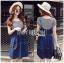 Lady Ribbon Korea Denim Dress LR21130616 &#x1F380 Lady Ribbon's Made &#x1F380 Lady Alexa Street Chic Striped T-Shirt with Denim Overall Dress thumbnail 1
