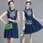 Lady Ribbon's Made &#x1F380 Lady Katie Embroidered Frilled Sleeveless Denim Korea Mini Dres thumbnail 5