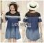 Lady Ribbon Korea Dress &#x1F380 Lady Ribbon's Made &#x1F380 Lady Davina Minimal Chic Striped Ombre Denim Dress เดรสแขนสั้น thumbnail 1