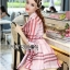 Lady Ribbon's Made &#x1F380 Lady Susan Double-Breast Checked Pink Trench Coat Korea thumbnail 6
