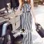 Lady Closet Seoul Secret Say's... Stripe Chic Long Playsuit Ribbon thumbnail 2
