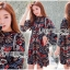 Lady Ribbon Korea LR16230516 &#x1F380 Lady Ribbon's Made &#x1F380 Lady Tamara Illustrated Floral Printed Flared-Sleeve Mini Dress thumbnail 1