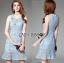 Lady Ribbon Korea Dressเสื้อผ้า LR09010816 &#x1F380 Lady Ribbon's Made &#x1F380 Lady Nara Feminine Elegant Crystal Embroidered Lace Dress เดรสผ้าลูกไม้ตกแต่ง thumbnail 1