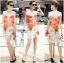 Lady Ribbon's Made &#x1F380 Lady Kimberley Smart Casual Holiday Orange Flower Printed Chiffon thumbnail 1