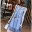 Lady Ribbon Korea Denim Dress LR12270616 &#x1F380 Lady Ribbon's Made &#x1F380 Lady Angela Sweet Vintage White Embroidered Denim Dress thumbnail 2