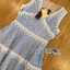 Lady Ribbon Korea เสื้อผ้าเกาหลี ของแท้พร้อมส่ง Lady Ribbon Dress LR10250716 &#x1F380 Lady Ribbon's Made &#x1F380 Lady Ariana Sweet Feminine White and Blue Lace Dress เดรสผ้าลูกไม้สีฟ้า thumbnail 6