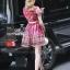 Lady Ribbon Korea Cutting LV10200616 &#x1F36DKorea Clo By Lavida golden shiny embroidery romany printed luxury dress thumbnail 3