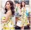 Lady Ribbon Dress Lady Ribbon Korea LR19190516 &#x1F380 Lady Ribbon's Made &#x1F380 Lady Chloe Yellow Mellow Floral Printed Button Dress เดรสแขนกุด thumbnail 1