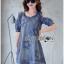 Lady Ribbon Korea Dress Denim LR07230616 &#x1F380 Lady Ribbon's Made &#x1F380 Lady Savina Cool Chic Shoulder Cut-Oul Star Embroidered Denim Dress เดรสผ้า thumbnail 3