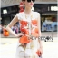 Lady Ribbon's Made &#x1F380 Lady Kimberley Smart Casual Holiday Orange Flower Printed Chiffon thumbnail 6