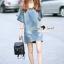 Lady Ribbon Korea Brand SS13060616 Seoul Secret Say's... V Stripy Oranamental Fringe Sleeve Denim Dress thumbnail 4