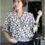 Lady Ribbon Cotton Korea Dress Blouse thumbnail 3