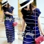 &#x1F380 Lady Ribbon's Made &#x1F380 Lady Ribbon Blue & White Stripe Pleatpleats Maxi Dress Korea thumbnail 6