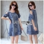 Lady Ribbon Korea Dress Denim LR07230616 &#x1F380 Lady Ribbon's Made &#x1F380 Lady Savina Cool Chic Shoulder Cut-Oul Star Embroidered Denim Dress เดรสผ้า thumbnail 1