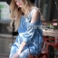 Lady Ribbon Korea Dress &#x1F380 Lady Ribbon's Made &#x1F380 Ashley Summery Off-Shoulder Denim Cotton and Lace Dress เดรสเปิดไหล่ thumbnail 4
