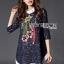 Lady Ribbon Korea LR07230516 &#x1F380 Lady Ribbon's Made &#x1F380 Lady Dakota Preppy Sweet Flower Sequin Embroidered navy Lace Dress thumbnail 3