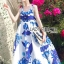 Lady Ribbon's Made &#x1F380 Lady Grace Sexy Elegant White and Blue Printed Cut-Out Back Maxi Dress thumbnail 5