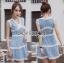 Lady Ribbon Korea เสื้อผ้าเกาหลี ของแท้พร้อมส่ง Lady Ribbon Dress LR10250716 &#x1F380 Lady Ribbon's Made &#x1F380 Lady Ariana Sweet Feminine White and Blue Lace Dress เดรสผ้าลูกไม้สีฟ้า thumbnail 1