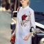 Brand Cliona made'Crystal Embroidered Red Rose Luxury Long Shirt Dress - Long shirt thumbnail 2