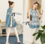 Lady Ribbon's Made &#x1F380 Lady Mariam Mix Lace and Cotton Denim Shirt Dress Korea thumbnail 1
